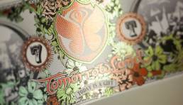 Close-up of Tomorrowland Ticket with coldfoil